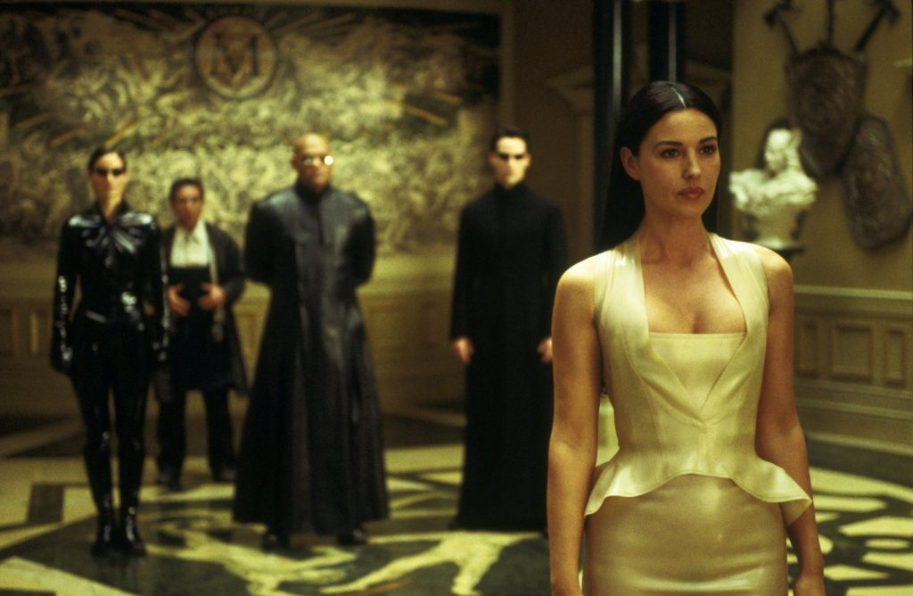monica bellucci 7 iconic outfits, persephone, the matrix, latex peplum
