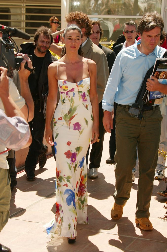 monica bellucci 7 iconic outfits, cannes 2002, floral dress, alex, irreversible